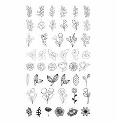 Flower set stylized flowers vector