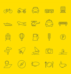 transportation and travel thin line icons vector image