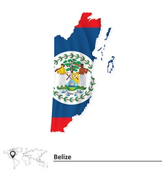 Map of belize with flag vector
