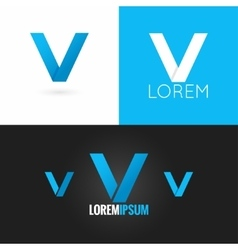 Letter v logo design icon set background vector