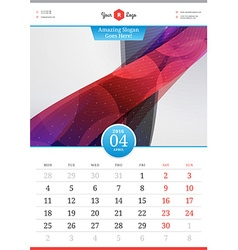 Wall calendar 2016 april template with abstract vector