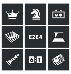 Playing chess and modern technology icons set vector
