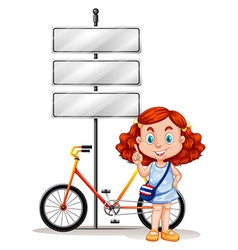 Girl standing next to bike and signs vector