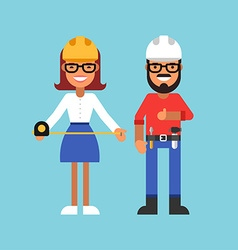 Profession concept builder male and female cartoon vector