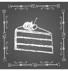 Chalk piece of cake with cream and cherry on top vector
