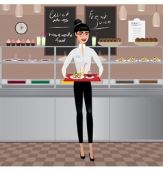 Business woman on a business lunch vector