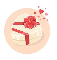 Gift box in heart shape on light backgrou vector