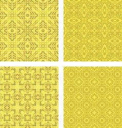 Yellow colorful seamless mosaic pattern set vector