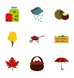 Autumn weather icons set flat style vector