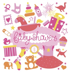 Baby shower print for girl vector