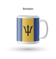 Barbados flag souvenir mug on white background vector