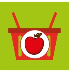 Basket shopping apple juicy fruit vector