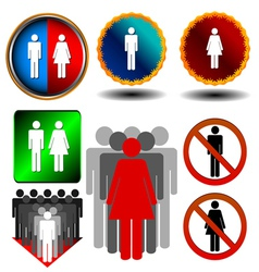 Big man and woman set vector image
