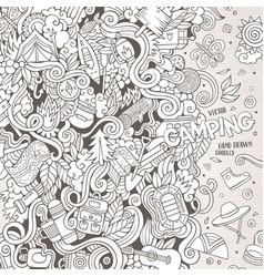 Cartoon hand-drawn doodles camp vector image