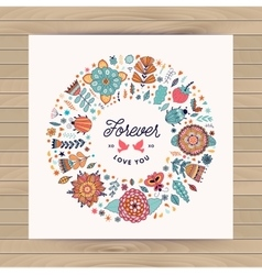 circle frame wreath made of flowers vector image vector image