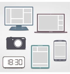 Colored electronics icons vector