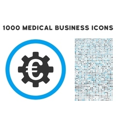 Euro machinery icon with 1000 medical business vector