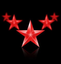 Five red stars in the shape of wedge on black vector