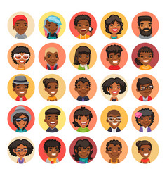 Flat african american round avatars on color vector