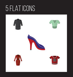 Flat icon clothes set of t-shirt heeled shoe vector