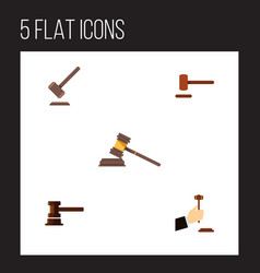 Flat icon court set of law government building vector