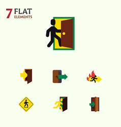 Flat icon door set of entrance direction pointer vector