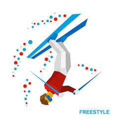 Freestyle skiing half-pipe superpipe vector
