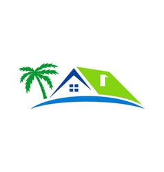 House beach holiday palm tree logo vector