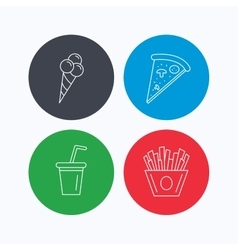 Ice cream pizza and soft drink icons vector