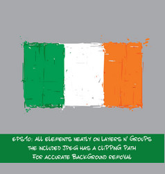 Irish flag flat - artistic brush strokes and vector