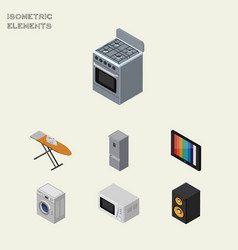 Isometric electronics set of laundry cloth iron vector