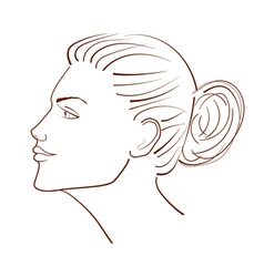 line of a beautiful woman face from profile view vector image vector image