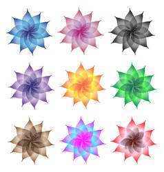 linocut flowers set vector image vector image