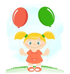 Little girl with toy balloons vector image vector image