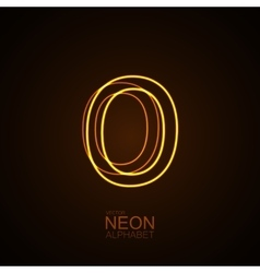 Neon 3d letter o vector