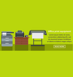 office print equipment banner horizontal concept vector image