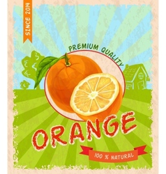 Orange retro poster vector image
