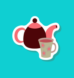 Paper sticker tea kettle and cup vector