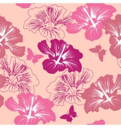 seamless pattern with tropical flower vector image vector image