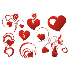 set icon - hearts vector image