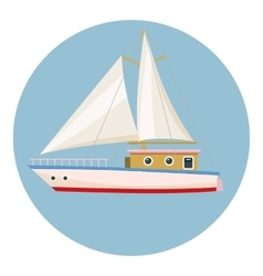 Speed boat with sail icon cartoon style vector