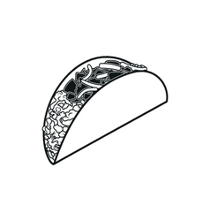Taco simple black icon on white background vector