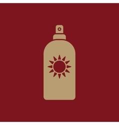 The sun cream icon sunscreen symbol flat vector