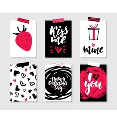 Valentines day gift card set Hand drawn vector image