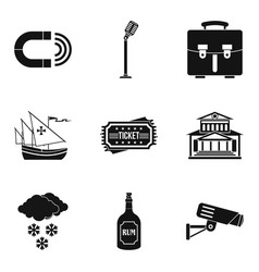 Visual distortion icons set simple style vector