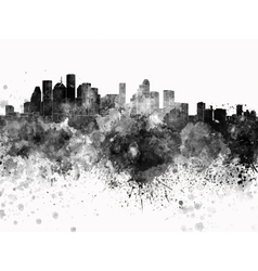Houston skyline in black watercolor on white vector image