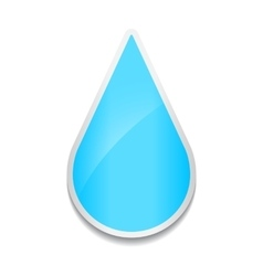 Crystal water drop icon sticker on white vector
