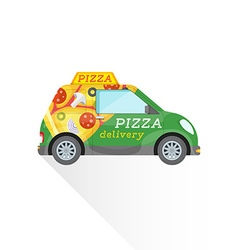 pizza fast delivery mini car vector image