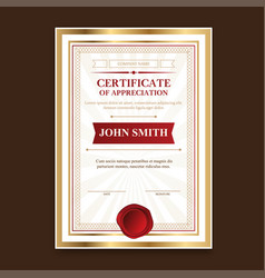 Golden template certificates with a vintage print vector