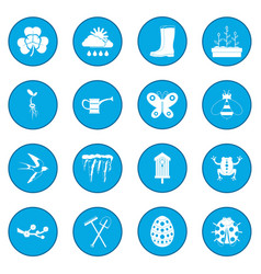 Spring icon blue vector